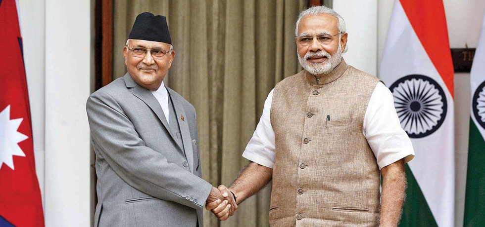 Prime Minister Shri Narendra Modi meeting with his Nepalese counterpart Shri KP Sharma Oli
